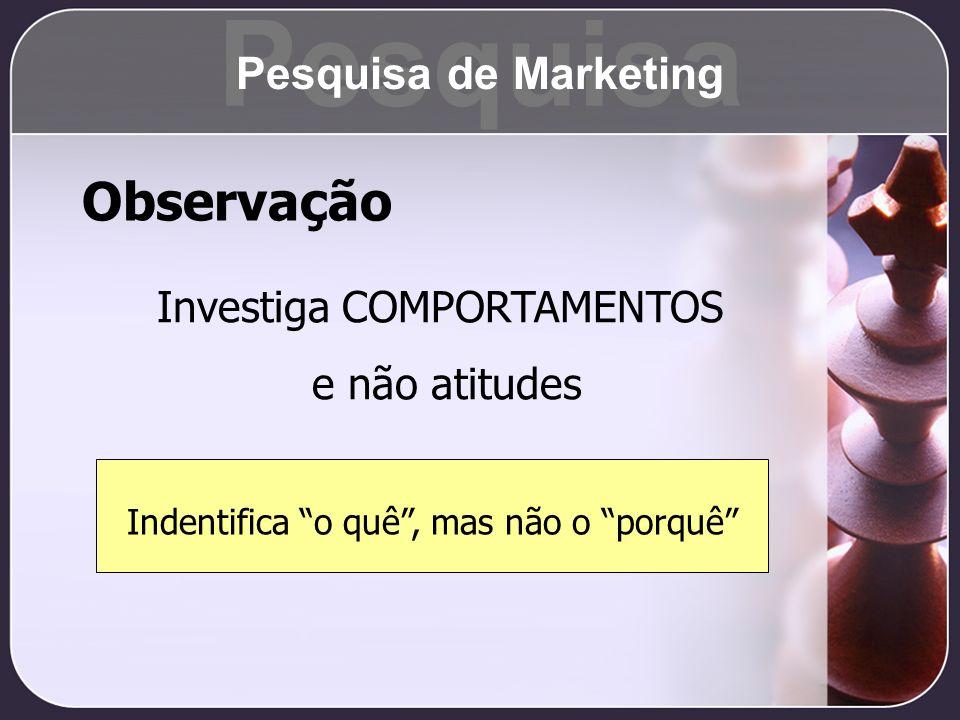 Observação Investiga COMPORTAMENTOS e não atitudes Indentifica o quê, mas não o porquê Pesquisa Pesquisa de Marketing
