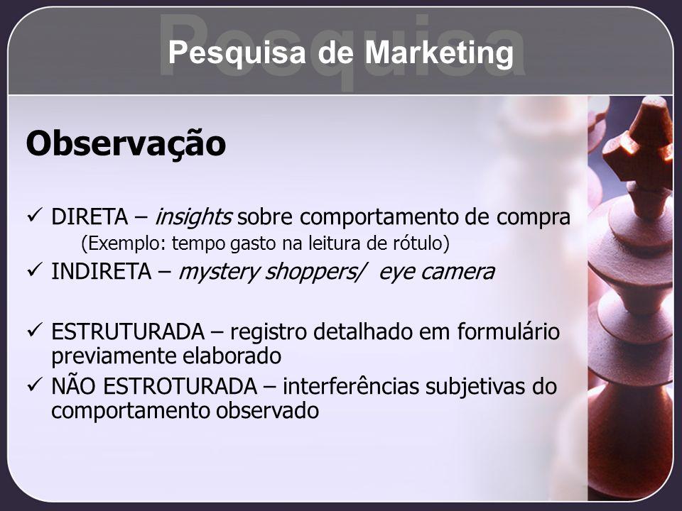 Observação DIRETA – insights sobre comportamento de compra (Exemplo: tempo gasto na leitura de rótulo) INDIRETA – mystery shoppers/ eye camera ESTRUTU