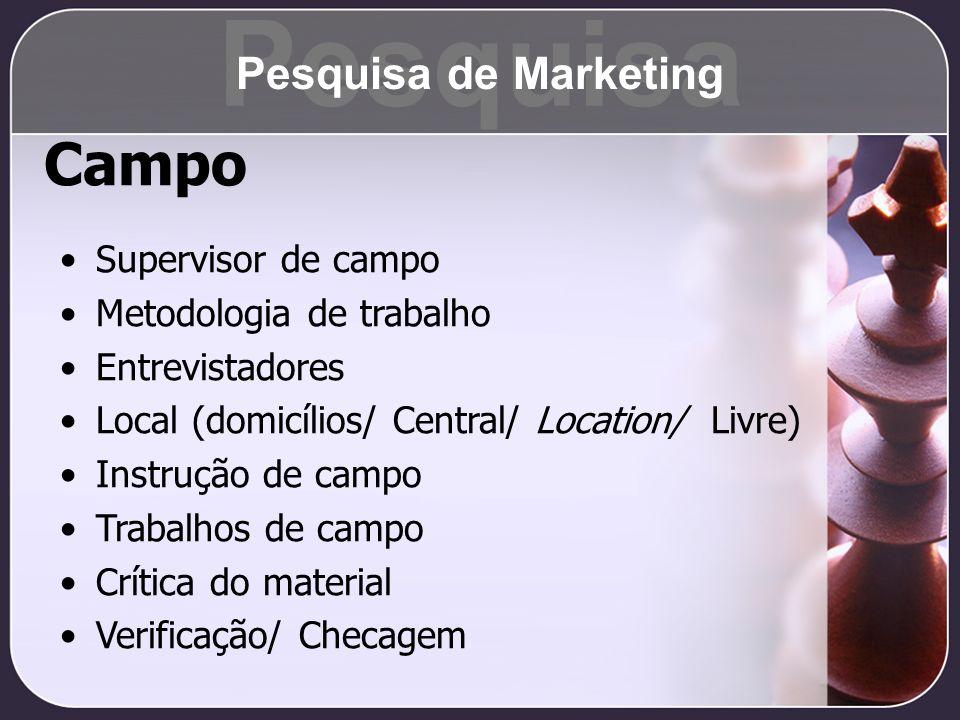 Campo Supervisor de campo Metodologia de trabalho Entrevistadores Local (domicílios/ Central/ Location/ Livre) Instrução de campo Trabalhos de campo C
