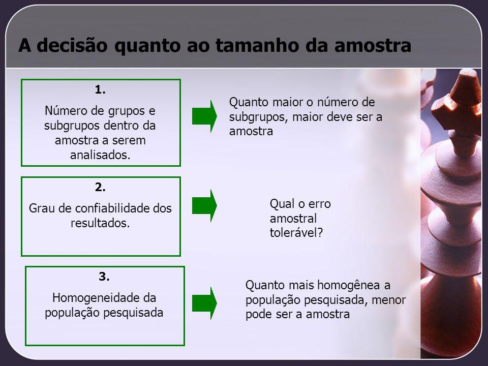 A decisão quanto ao tamanho da amostra 1. Número de grupos e subgrupos dentro da amostra a serem analisados. 2. Grau de confiabilidade dos resultados.
