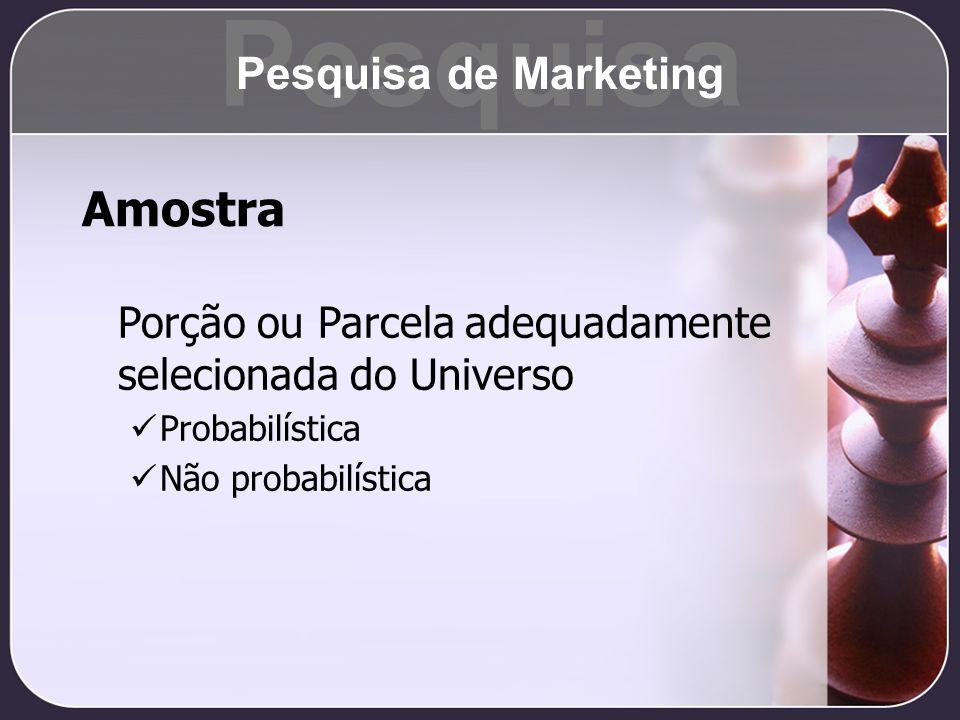 Amostra Porção ou Parcela adequadamente selecionada do Universo Probabilística Não probabilística Pesquisa Pesquisa de Marketing