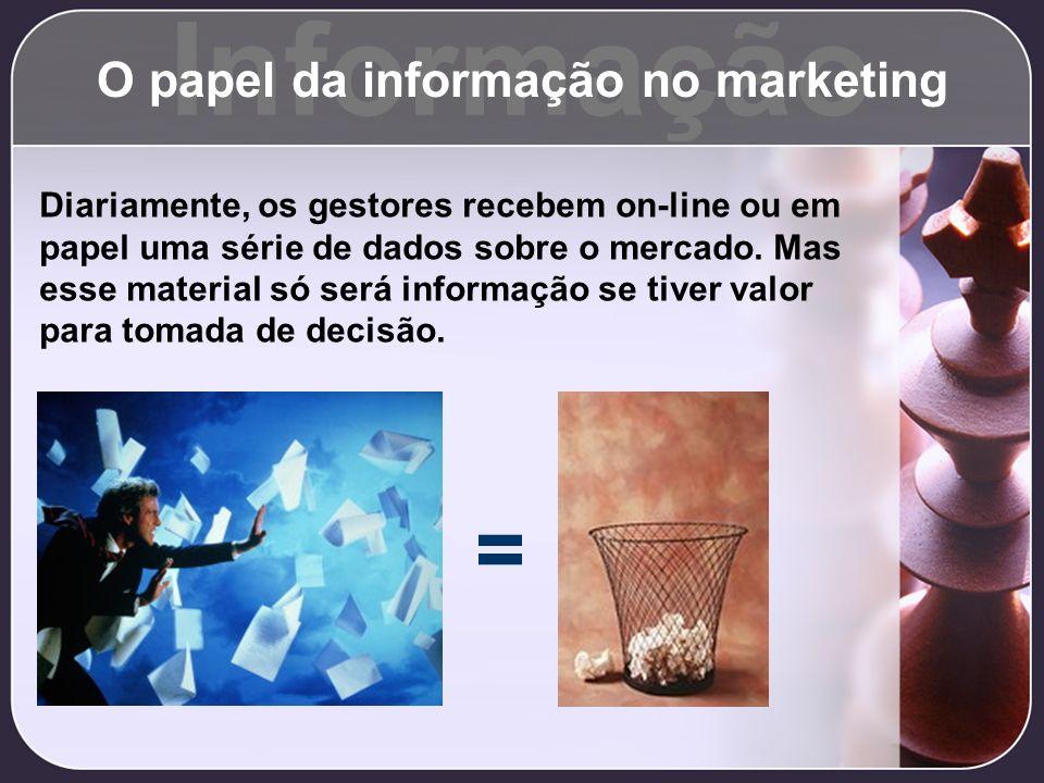 Informação O papel da informação no marketing Diariamente, os gestores recebem on-line ou em papel uma série de dados sobre o mercado. Mas esse materi