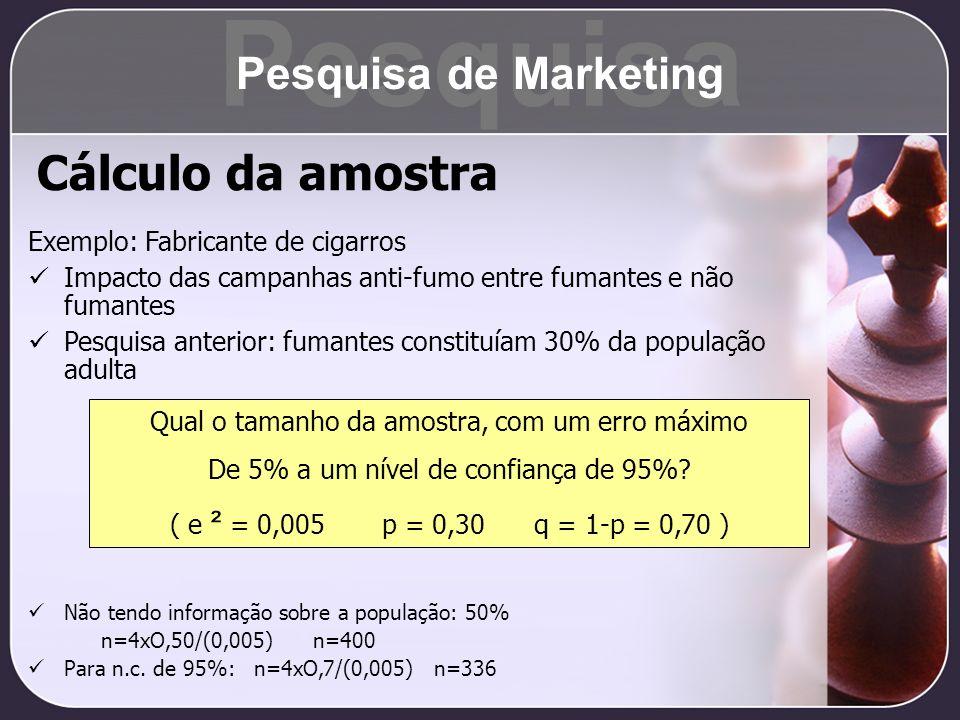Cálculo da amostra Exemplo: Fabricante de cigarros Impacto das campanhas anti-fumo entre fumantes e não fumantes Pesquisa anterior: fumantes constituí