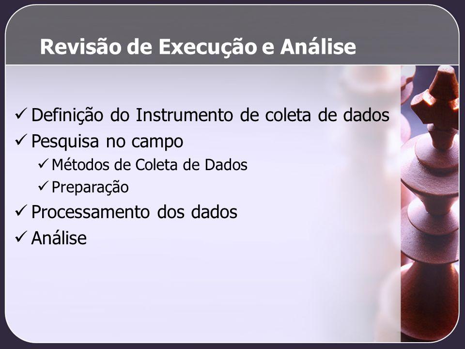 Revisão de Execução e Análise Definição do Instrumento de coleta de dados Pesquisa no campo Métodos de Coleta de Dados Preparação Processamento dos da
