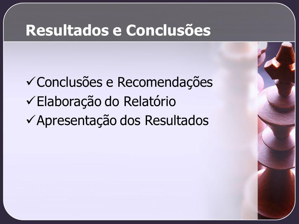 Resultados e Conclusões Conclusões e Recomendações Elaboração do Relatório Apresentação dos Resultados