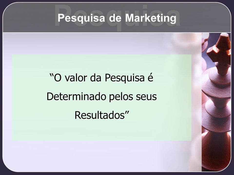 O valor da Pesquisa é Determinado pelos seus Resultados Pesquisa Pesquisa de Marketing