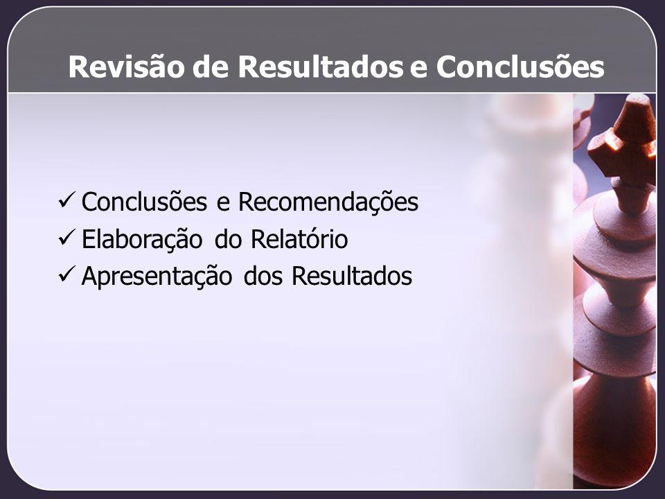 Revisão de Resultados e Conclusões Conclusões e Recomendações Elaboração do Relatório Apresentação dos Resultados