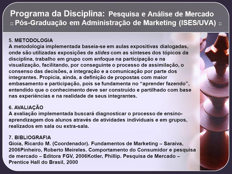 Programa da Disciplina: Pesquisa e Análise de Mercado :: Pós-Graduação em Administração de Marketing (ISES/UVA) :: 5. METODOLOGIA A metodologia implem