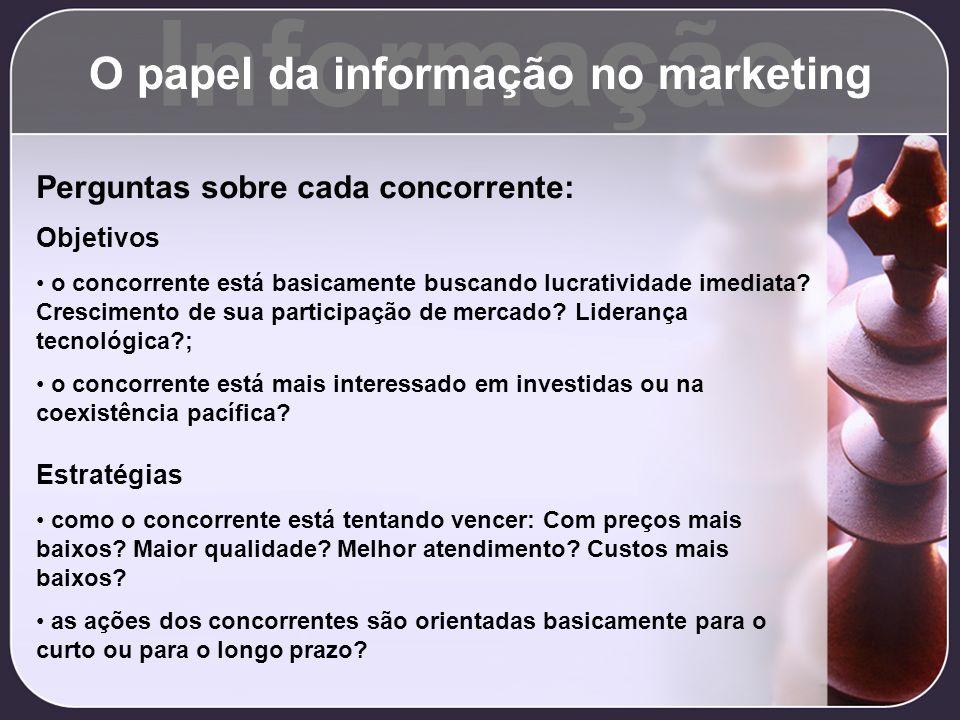 Informação O papel da informação no marketing Perguntas sobre cada concorrente: Objetivos o concorrente está basicamente buscando lucratividade imedia