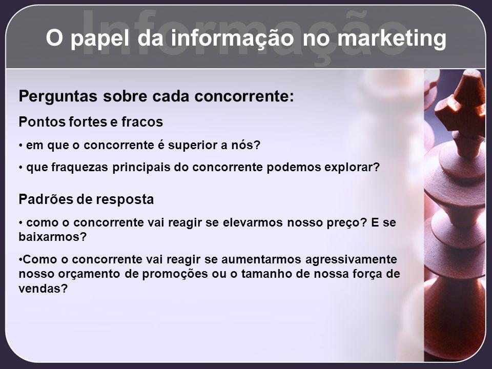 Informação O papel da informação no marketing Perguntas sobre cada concorrente: Pontos fortes e fracos em que o concorrente é superior a nós? que fraq