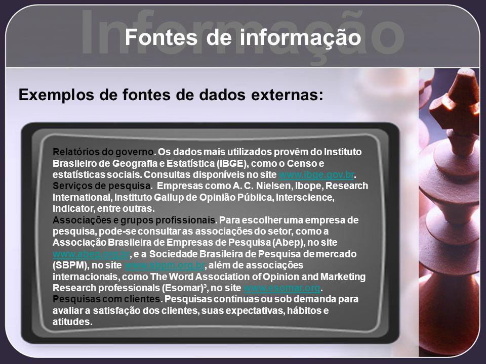 Informação Fontes de informação Exemplos de fontes de dados externas: Relatórios do governo. Os dados mais utilizados provêm do Instituto Brasileiro d