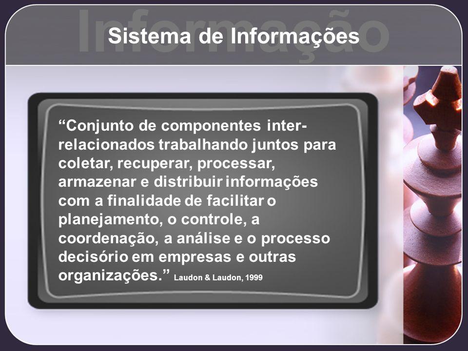 Informação Sistema de Informações Conjunto de componentes inter- relacionados trabalhando juntos para coletar, recuperar, processar, armazenar e distr