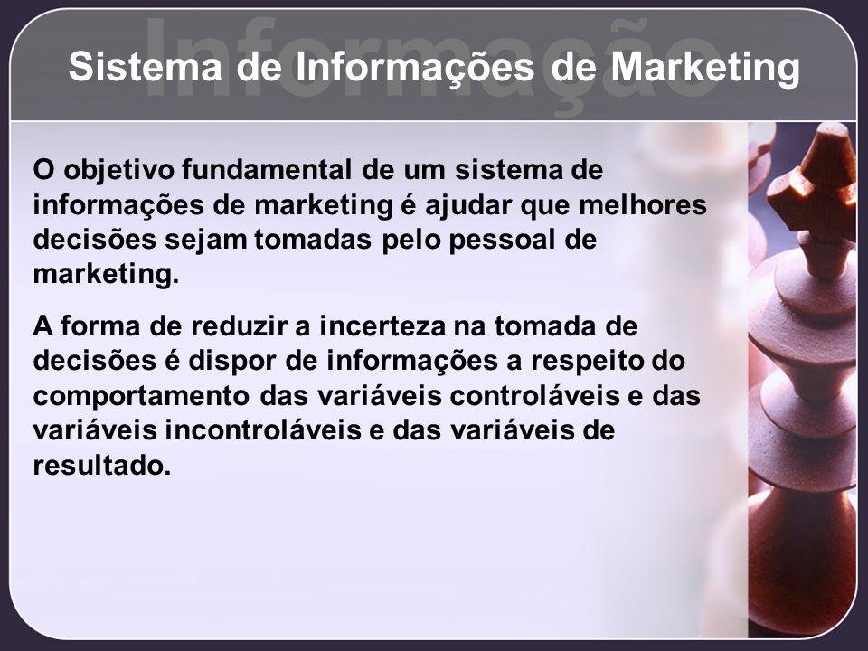 Informação Sistema de Informações de Marketing O objetivo fundamental de um sistema de informações de marketing é ajudar que melhores decisões sejam t