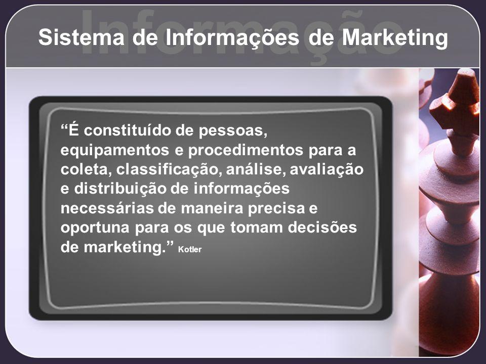 Informação Sistema de Informações de Marketing É constituído de pessoas, equipamentos e procedimentos para a coleta, classificação, análise, avaliação