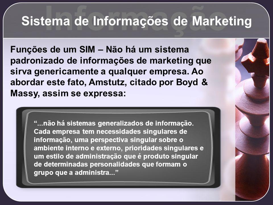 Informação Sistema de Informações de Marketing Funções de um SIM – Não há um sistema padronizado de informações de marketing que sirva genericamente a