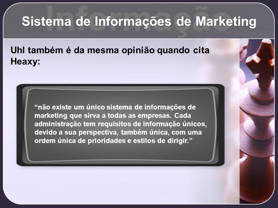 Informação Sistema de Informações de Marketing Uhl também é da mesma opinião quando cita Heaxy: não existe um único sistema de informações de marketin