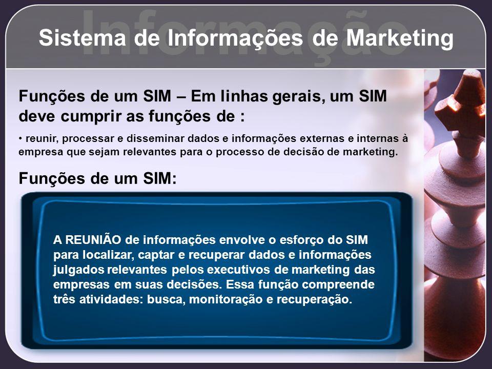 Informação Sistema de Informações de Marketing Funções de um SIM – Em linhas gerais, um SIM deve cumprir as funções de : reunir, processar e dissemina