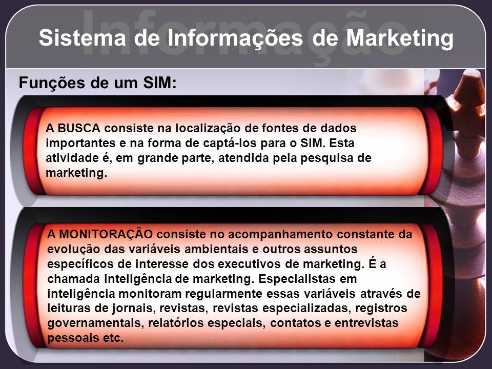 Informação Sistema de Informações de Marketing Funções de um SIM: A BUSCA consiste na localização de fontes de dados importantes e na forma de captá-l