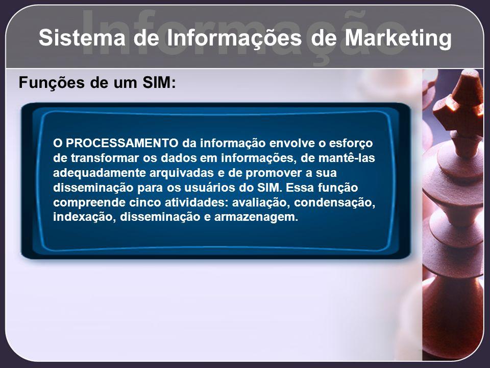 Informação Sistema de Informações de Marketing Funções de um SIM: O PROCESSAMENTO da informação envolve o esforço de transformar os dados em informaçõ