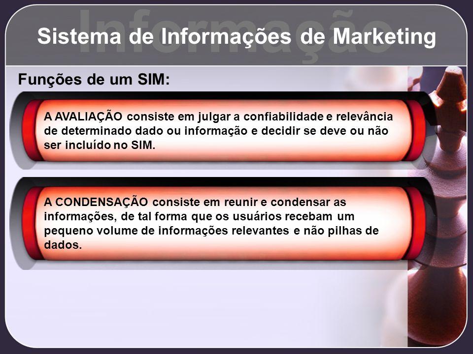 Informação Sistema de Informações de Marketing Funções de um SIM: A AVALIAÇÃO consiste em julgar a confiabilidade e relevância de determinado dado ou