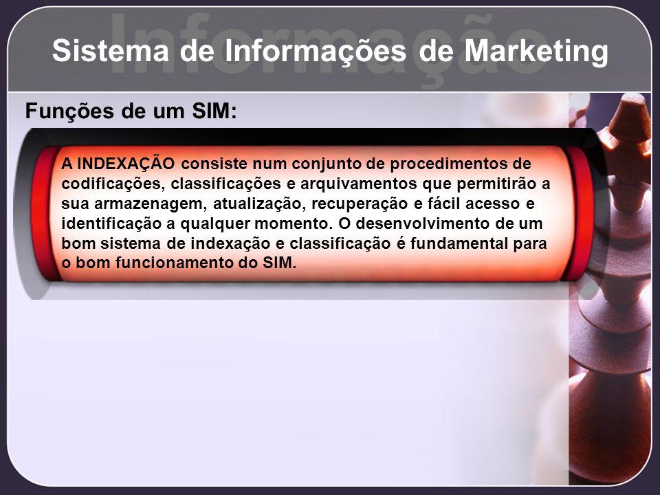 Informação Sistema de Informações de Marketing Funções de um SIM: A INDEXAÇÃO consiste num conjunto de procedimentos de codificações, classificações e