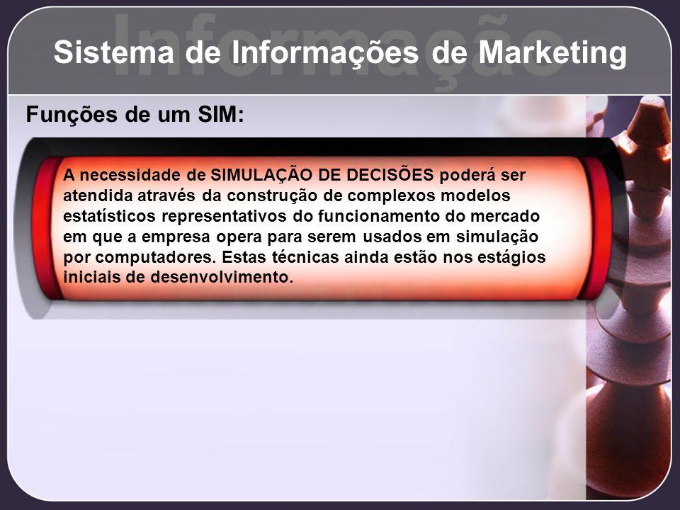 Informação Sistema de Informações de Marketing Funções de um SIM: A necessidade de SIMULAÇÃO DE DECISÕES poderá ser atendida através da construção de