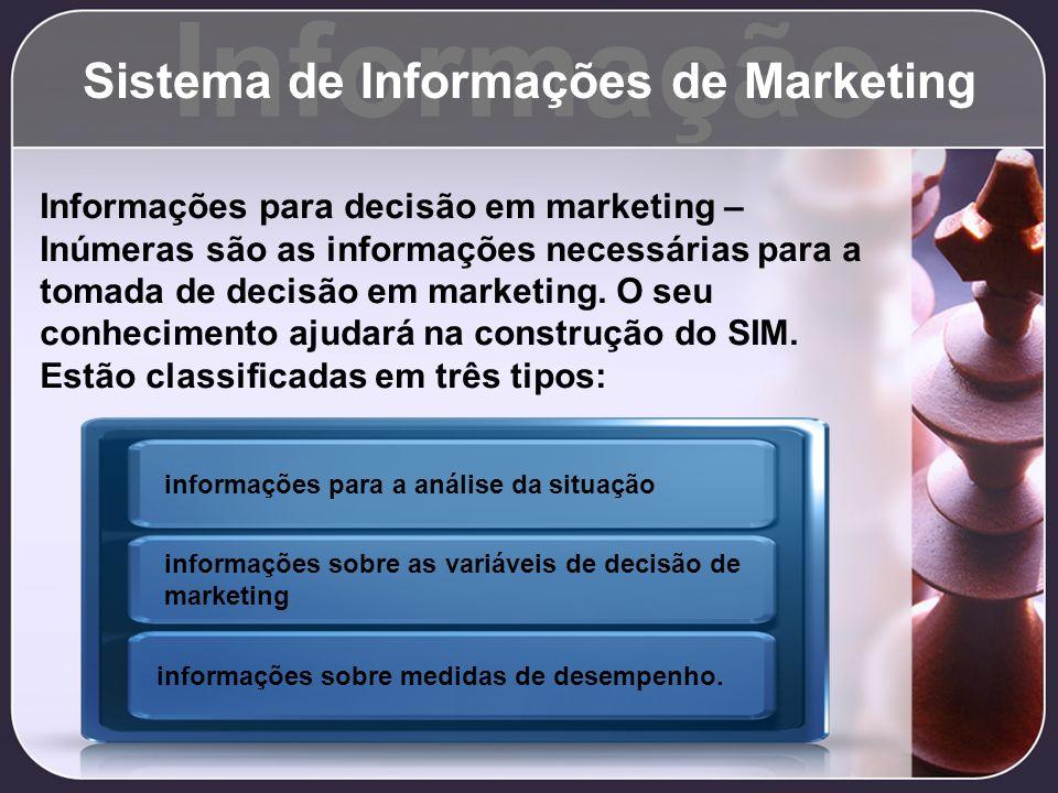 Informação Sistema de Informações de Marketing Informações para decisão em marketing – Inúmeras são as informações necessárias para a tomada de decisã