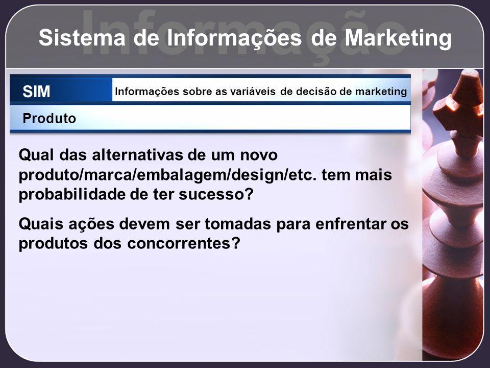 Informação Sistema de Informações de Marketing SIM Informações sobre as variáveis de decisão de marketing Produto Qual das alternativas de um novo pro