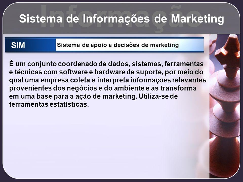 Informação Sistema de Informações de Marketing SIM Sistema de apoio a decisões de marketing É um conjunto coordenado de dados, sistemas, ferramentas e