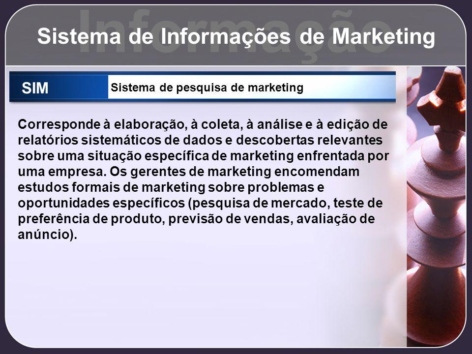 Informação Sistema de Informações de Marketing SIM Sistema de pesquisa de marketing Corresponde à elaboração, à coleta, à análise e à edição de relató