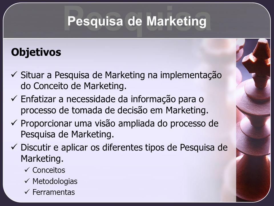 Pesquisa Pesquisa de Marketing Situar a Pesquisa de Marketing na implementação do Conceito de Marketing. Enfatizar a necessidade da informação para o