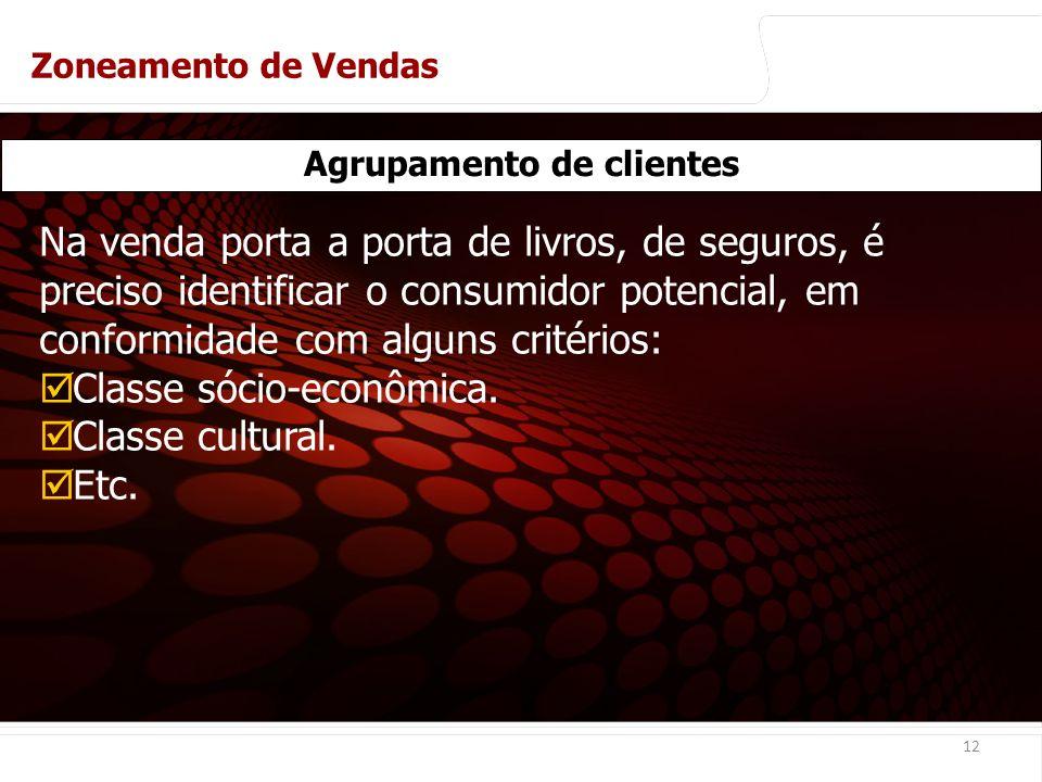 euler@imvnet.com.br | www.slideshare.net/eulernogueira 12 Agrupamento de clientes Na venda porta a porta de livros, de seguros, é preciso identificar o consumidor potencial, em conformidade com alguns critérios: Classe sócio-econômica.