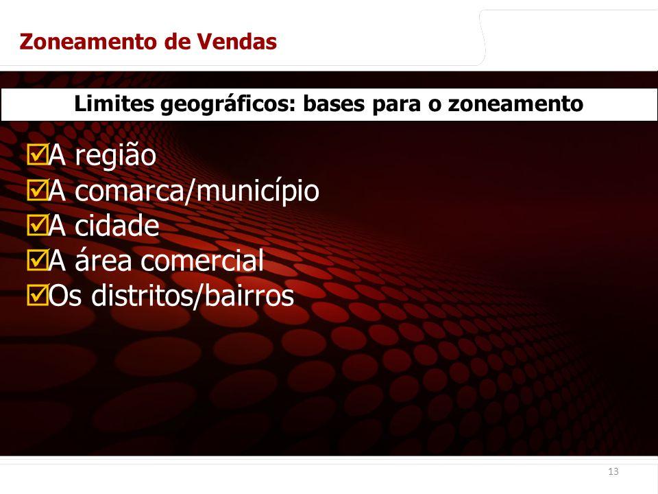 euler@imvnet.com.br | www.slideshare.net/eulernogueira 13 Limites geográficos: bases para o zoneamento A região A comarca/município A cidade A área comercial Os distritos/bairros Zoneamento de Vendas