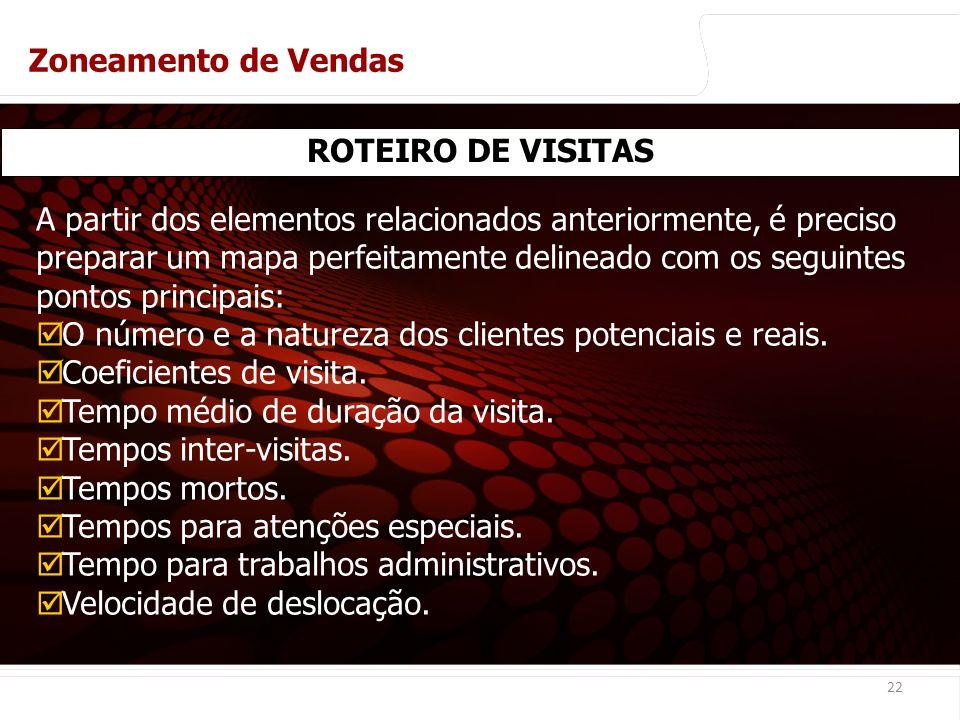 euler@imvnet.com.br | www.slideshare.net/eulernogueira 22 ROTEIRO DE VISITAS A partir dos elementos relacionados anteriormente, é preciso preparar um mapa perfeitamente delineado com os seguintes pontos principais: O número e a natureza dos clientes potenciais e reais.