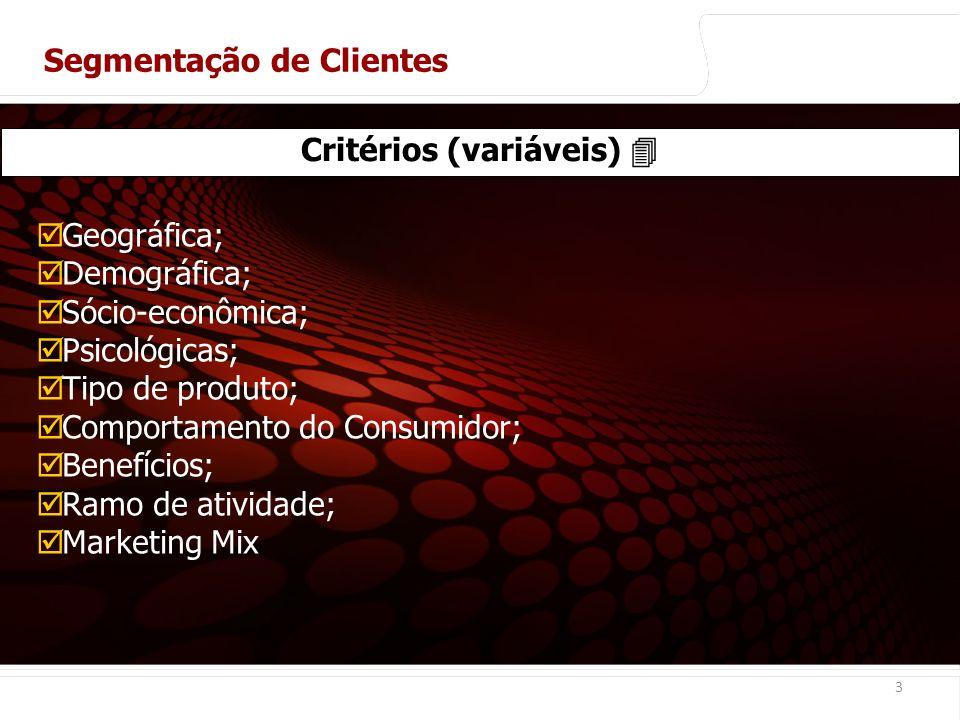 euler@imvnet.com.br | www.slideshare.net/eulernogueira 3 Critérios (variáveis) Geográfica; Demográfica; Sócio-econômica; Psicológicas; Tipo de produto; Comportamento do Consumidor; Benefícios; Ramo de atividade; Marketing Mix Segmentação de Clientes