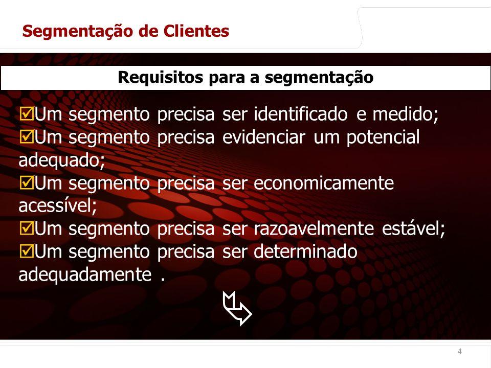 euler@imvnet.com.br | www.slideshare.net/eulernogueira 4 Requisitos para a segmentação Um segmento precisa ser identificado e medido; Um segmento precisa evidenciar um potencial adequado; Um segmento precisa ser economicamente acessível; Um segmento precisa ser razoavelmente estável; Um segmento precisa ser determinado adequadamente.