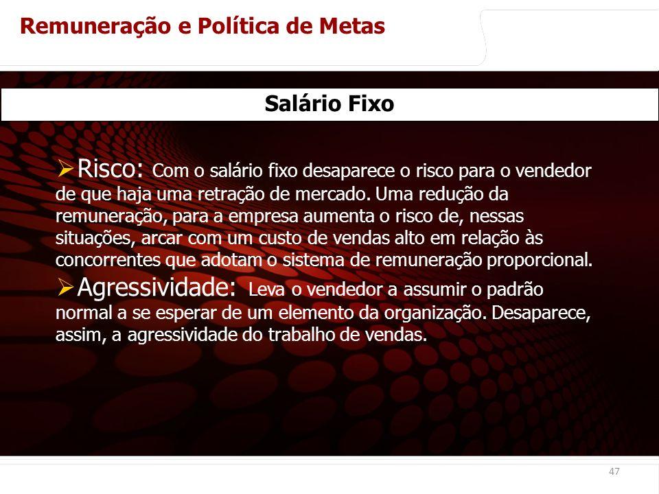 euler@imvnet.com.br | www.slideshare.net/eulernogueira 47 Salário Fixo Risco: Com o salário fixo desaparece o risco para o vendedor de que haja uma retração de mercado.