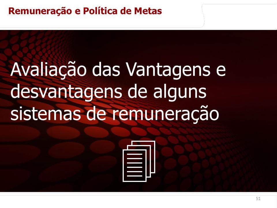 euler@imvnet.com.br | www.slideshare.net/eulernogueira 51 Avaliação das Vantagens e desvantagens de alguns sistemas de remuneração Remuneração e Política de Metas Sistema de remuneração de vendedores