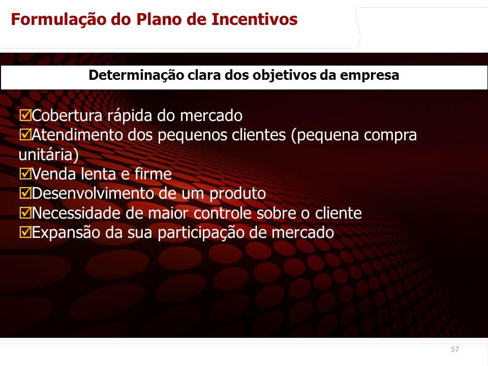 euler@imvnet.com.br | www.slideshare.net/eulernogueira 57 Cobertura rápida do mercado Atendimento dos pequenos clientes (pequena compra unitária) Venda lenta e firme Desenvolvimento de um produto Necessidade de maior controle sobre o cliente Expansão da sua participação de mercado Determinação clara dos objetivos da empresa Formulação do Plano de Incentivos Análise básica para montagem de um sistema de remuneração