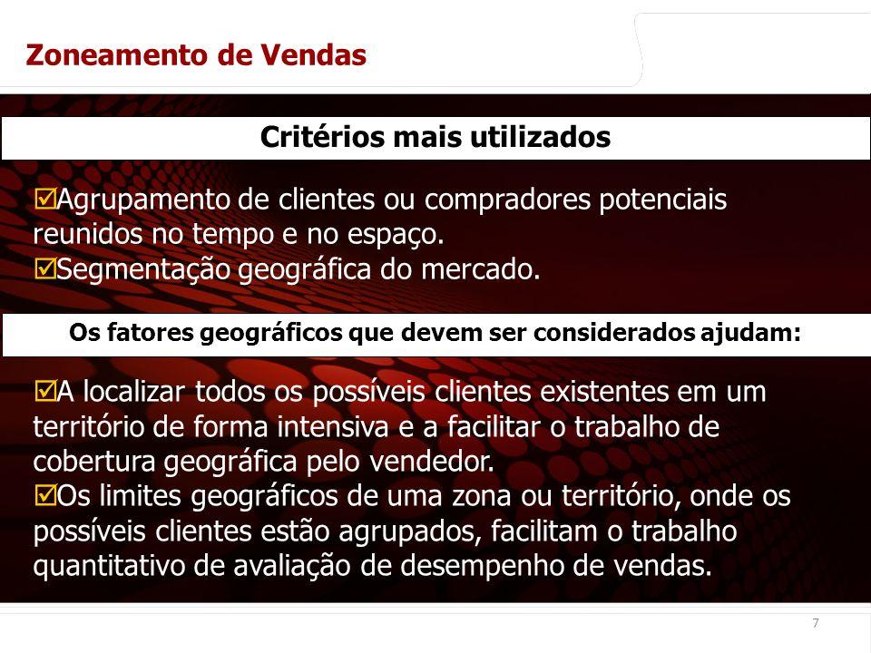 euler@imvnet.com.br | www.slideshare.net/eulernogueira 7 Critérios mais utilizados Zoneamento de Vendas Agrupamento de clientes ou compradores potenciais reunidos no tempo e no espaço.