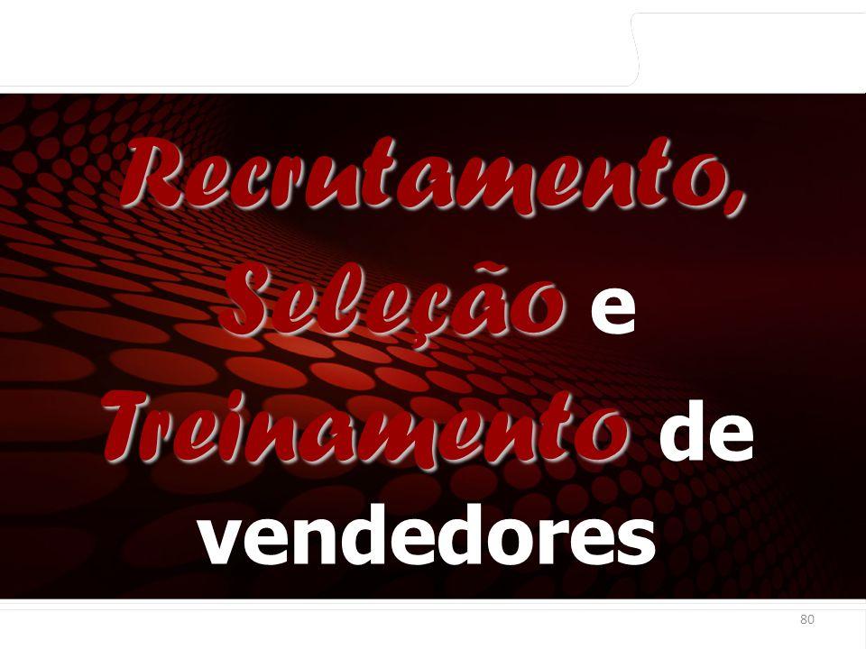 euler@imvnet.com.br | www.slideshare.net/eulernogueira 80 Recrutamento, Seleção Treinamento Recrutamento, Seleção e Treinamento de vendedores