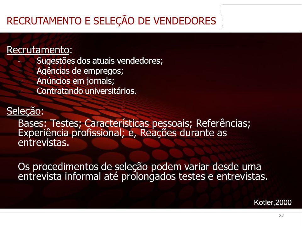 euler@imvnet.com.br | www.slideshare.net/eulernogueira RECRUTAMENTO E SELEÇÃO DE VENDEDORES Recrutamento: - Sugestões dos atuais vendedores; - Agências de empregos; - Anúncios em jornais; - Contratando universitários.