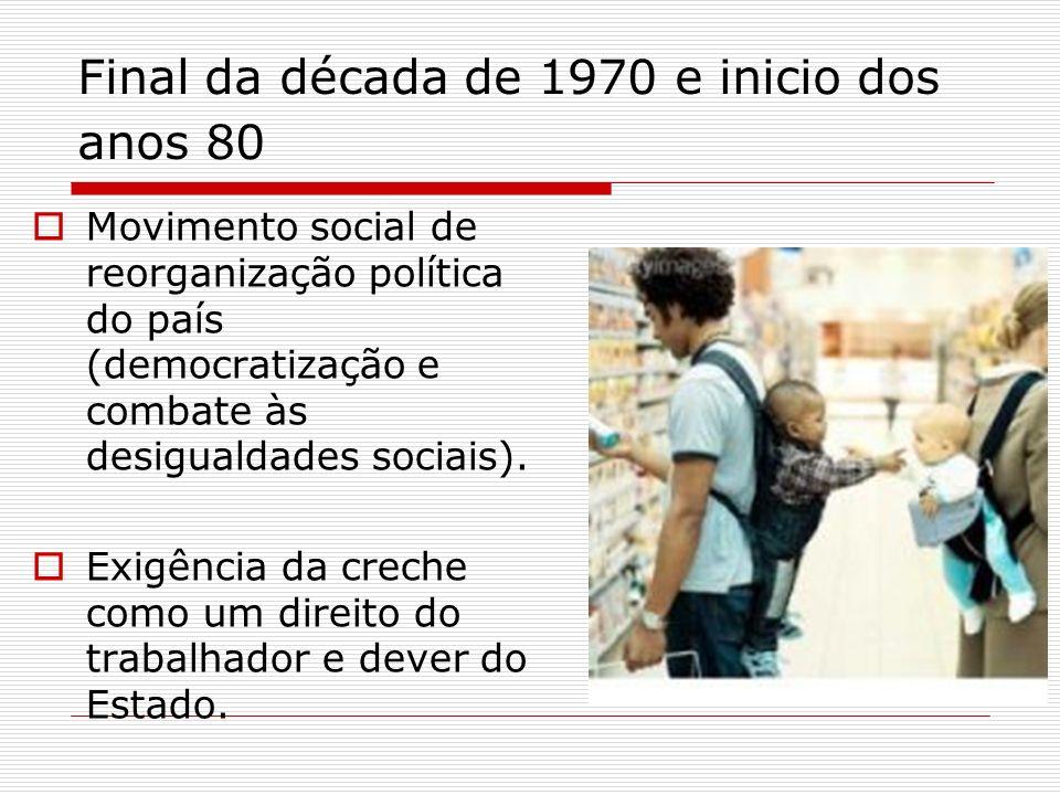 Final da década de 1970 e inicio dos anos 80 Movimento social de reorganização política do país (democratização e combate às desigualdades sociais). E