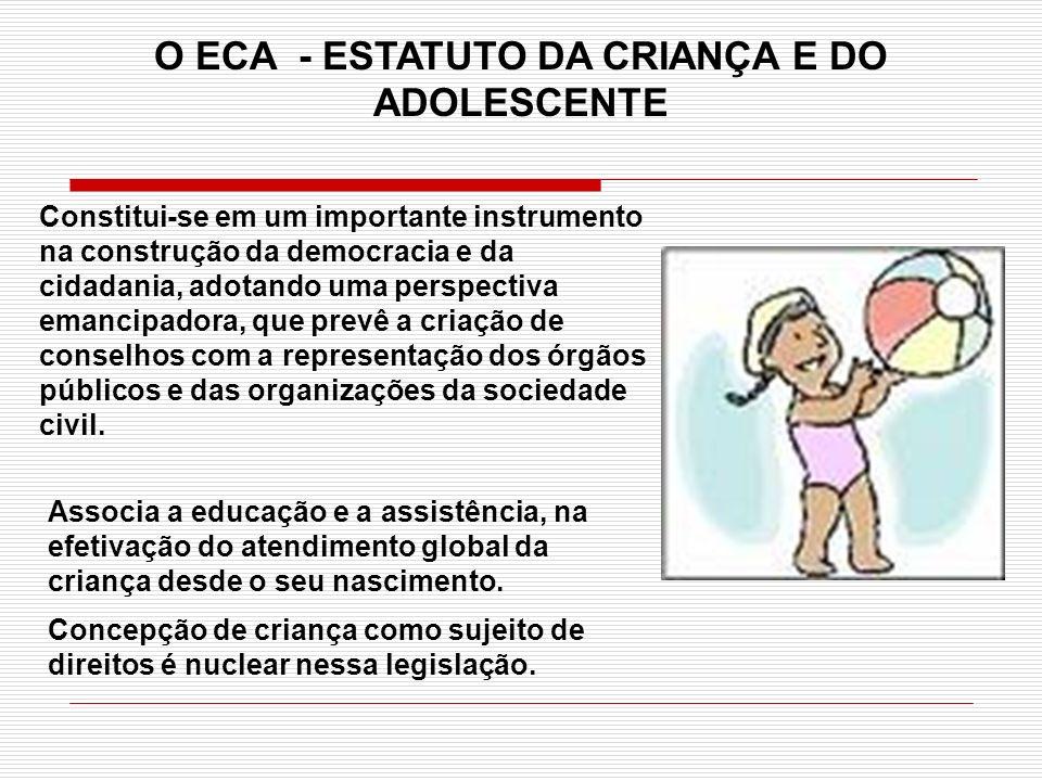 Associa a educação e a assistência, na efetivação do atendimento global da criança desde o seu nascimento. Concepção de criança como sujeito de direit