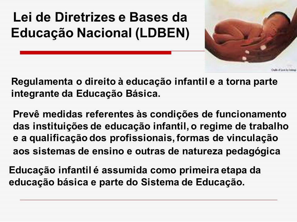 Lei de Diretrizes e Bases da Educação Nacional (LDBEN) Regulamenta o direito à educação infantil e a torna parte integrante da Educação Básica. Prevê