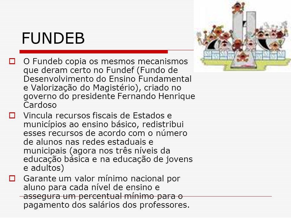 FUNDEB O Fundeb copia os mesmos mecanismos que deram certo no Fundef (Fundo de Desenvolvimento do Ensino Fundamental e Valorização do Magistério), cri