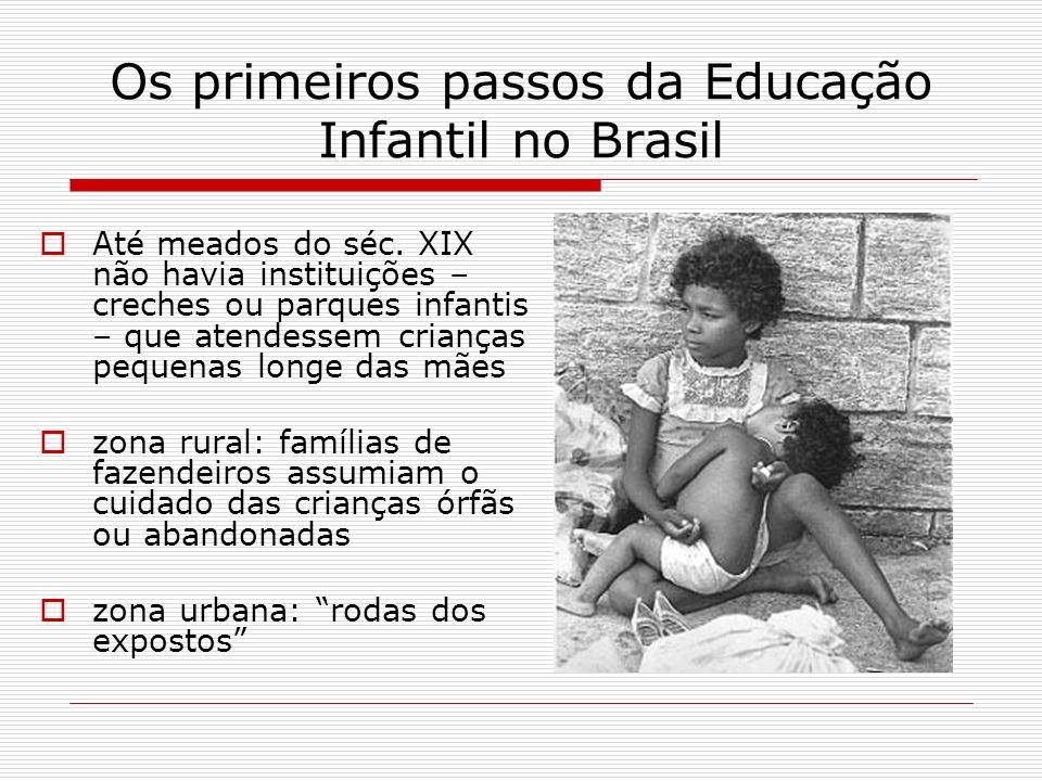 Os primeiros passos da Educação Infantil no Brasil Até meados do séc. XIX não havia instituições – creches ou parques infantis – que atendessem crianç
