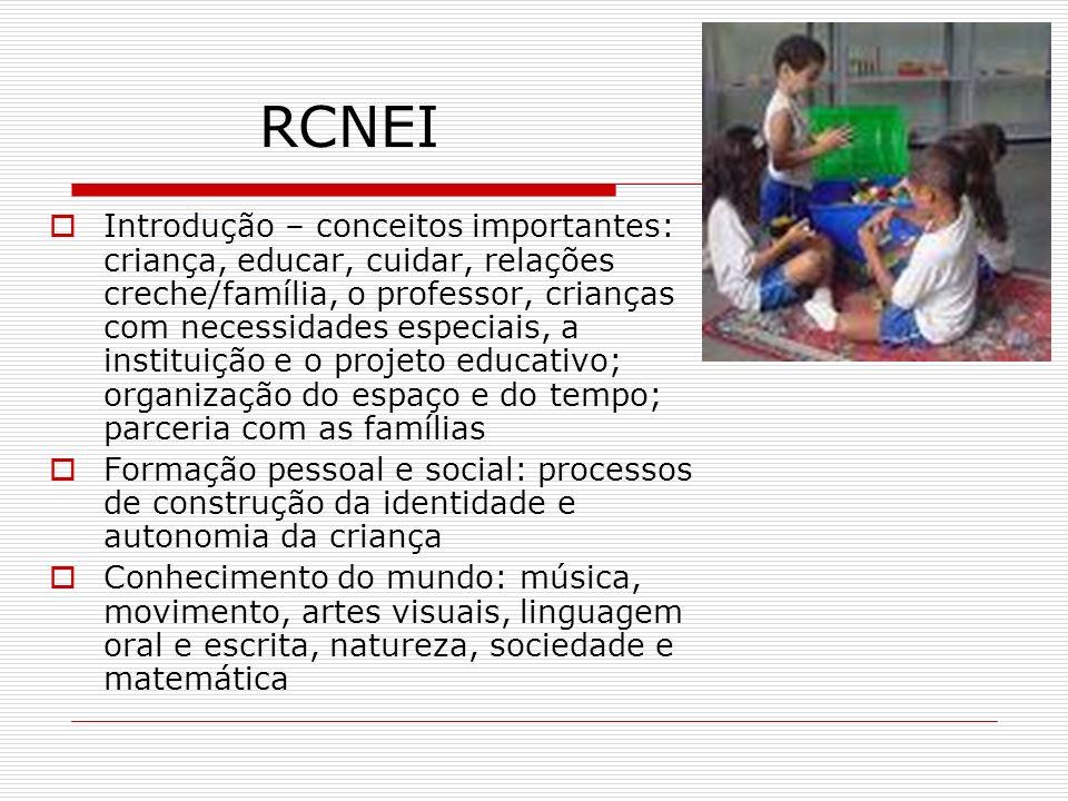 RCNEI Introdução – conceitos importantes: criança, educar, cuidar, relações creche/família, o professor, crianças com necessidades especiais, a instit