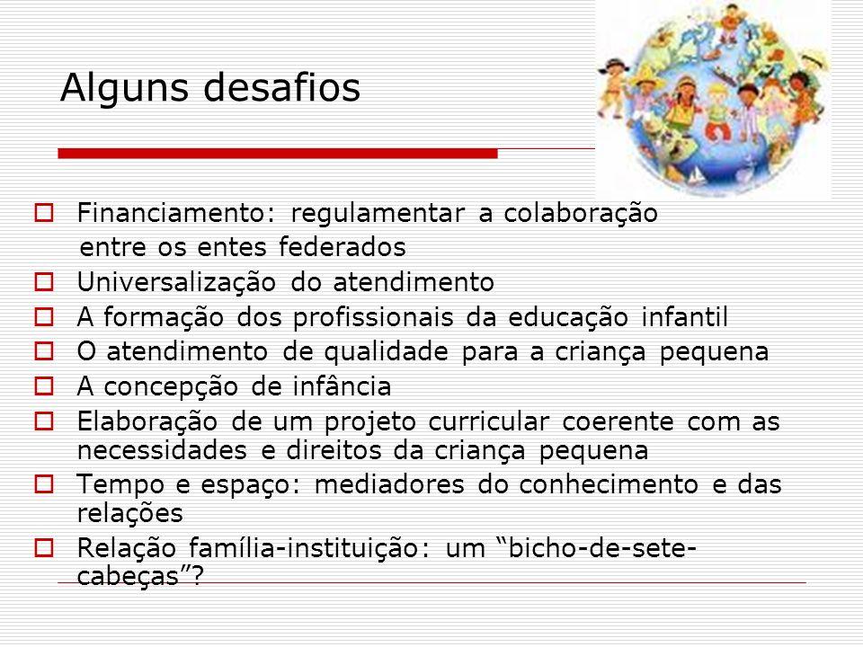 Alguns desafios Financiamento: regulamentar a colaboração entre os entes federados Universalização do atendimento A formação dos profissionais da educ