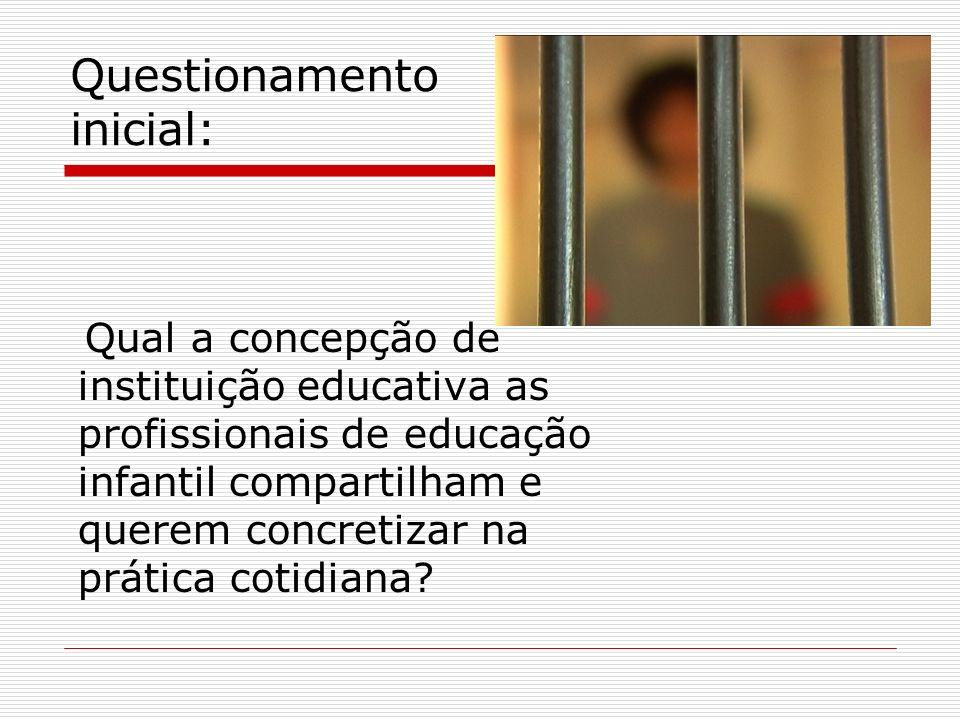 Questionamento inicial: Qual a concepção de instituição educativa as profissionais de educação infantil compartilham e querem concretizar na prática c